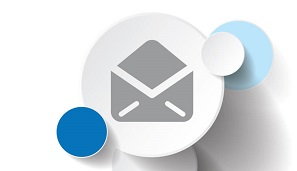 Logicity Crystal Reports Viewer software icon of the brand's blue circles and an envelope representing the ability to email Crystal Reports