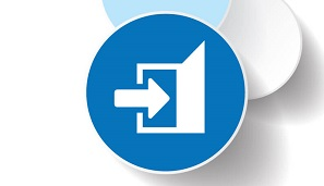 Logicity Crystal Reports Viewer software icon of the brand's blue circles and arrow pointing out door to represent ability to export Crystal Reports to Excel and other formats