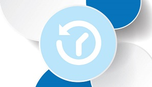 Logicity Crystal Reports Scheduler icon of the brand's blue circles and a clock to represent scheduling cpaabilities