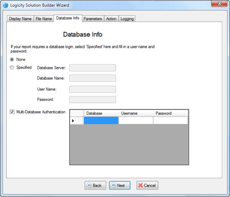 Logicity User guide - Solution Builder - Screenshot of Database Credentials Entry Screen