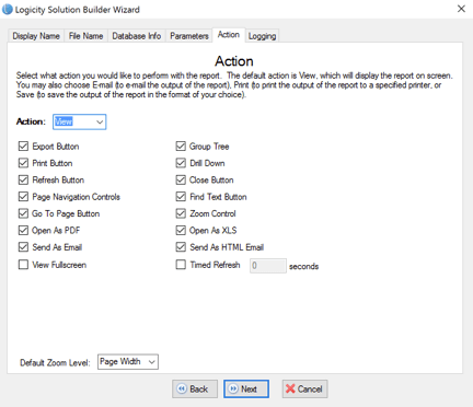 Logicity User Guide - Solution Builder - Screenshot for selecting viewer controls to turn off