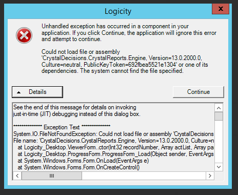Logicity: Logicity v1 8 unhanded exception has occurred (1/2)